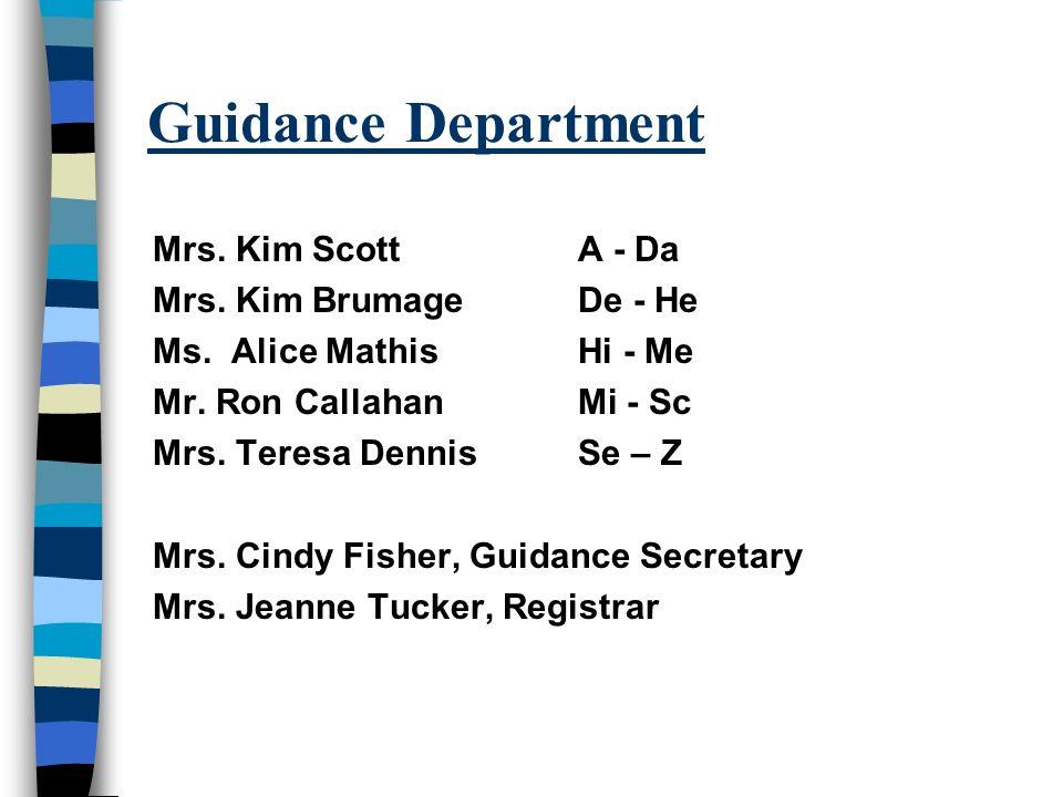 Guidance Department Mrs.Kim Scott A - Da Mrs. Kim Brumage De - He Ms.