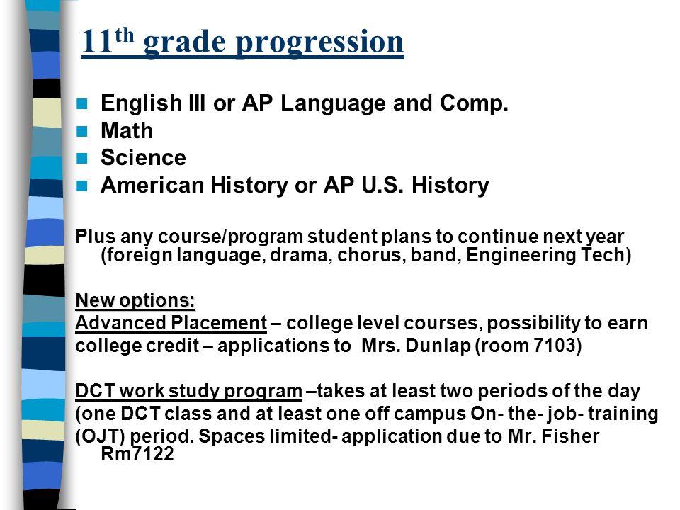 11 th grade progression English III or AP Language and Comp.