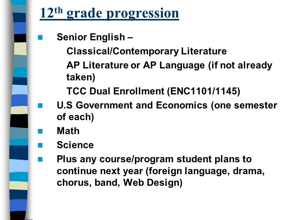 12 th grade progression Senior English – Classical/Contemporary Literature AP Literature or AP Language (if not already taken) TCC Dual Enrollment (EN