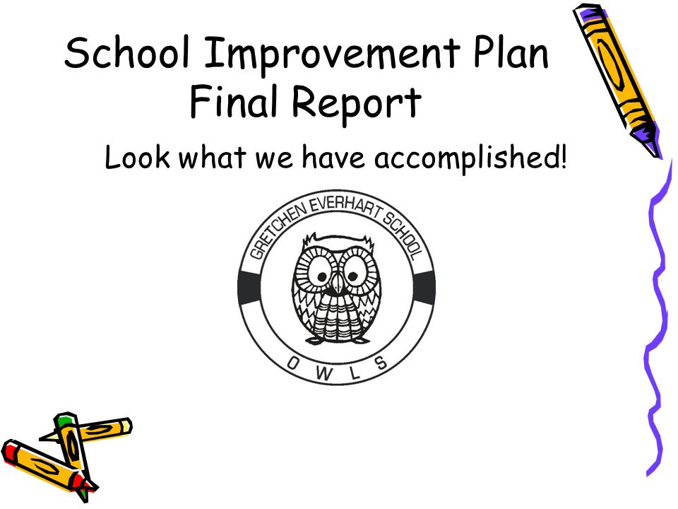 School Improvement Plan Final Report Look what we have accomplished!