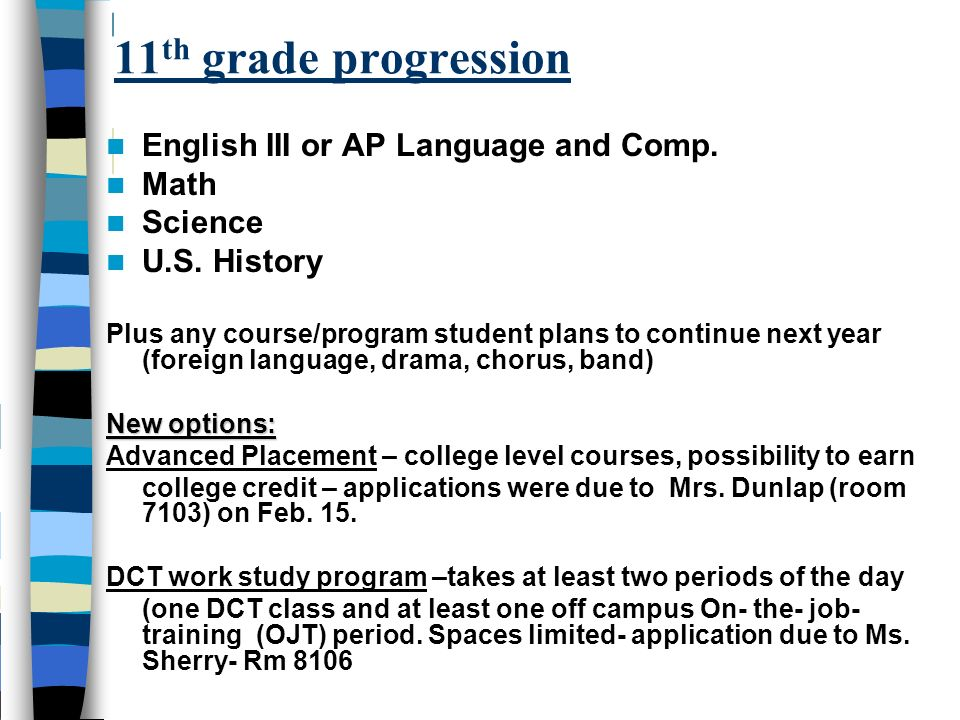 11 th grade progression English III or AP Language and Comp. Math Science U.S. History Plus any course/program student plans to continue next year (fo
