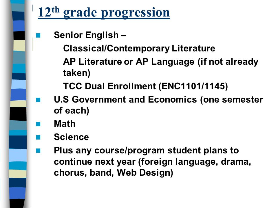 12 th grade progression Senior English – Classical/Contemporary Literature AP Literature or AP Language (if not already taken) TCC Dual Enrollment (ENC1101/1145) U.S Government and Economics (one semester of each) Math Science Plus any course/program student plans to continue next year (foreign language, drama, chorus, band, Web Design)