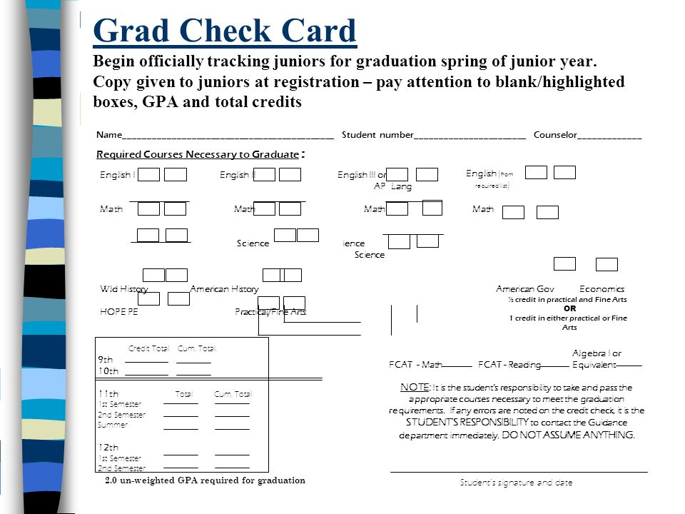 Grad Check Card Begin officially tracking juniors for graduation spring of junior year.