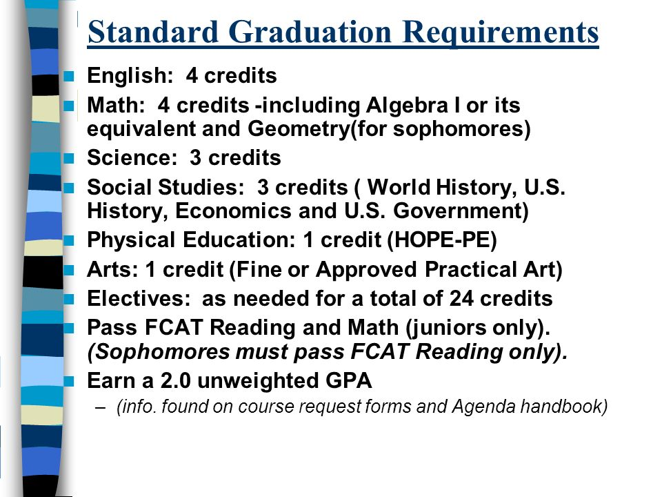 Standard Graduation Requirements English: 4 credits Math: 4 credits -including Algebra I or its equivalent and Geometry(for sophomores) Science: 3 credits Social Studies: 3 credits ( World History, U.S.