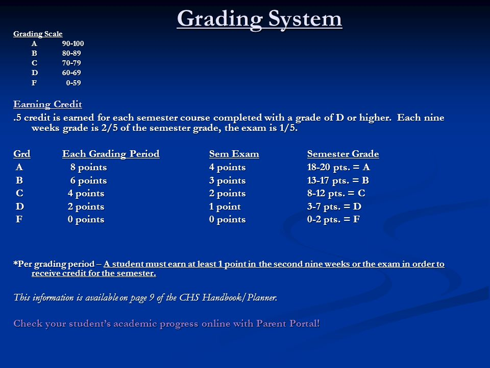 Grading System Grading Scale A 90-100 B80-89 C70-79 D60-69 F 0-59 Earning Credit.5 credit is earned for each semester course completed with a grade of