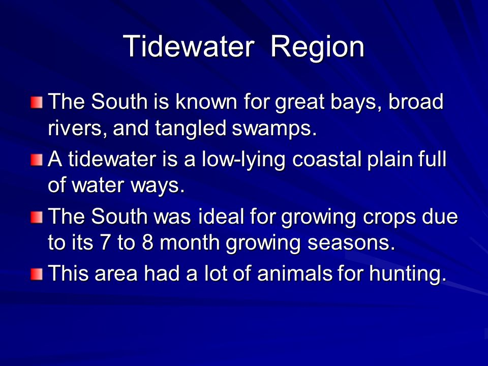 Tidewater Region The South is known for great bays, broad rivers, and tangled swamps. A tidewater is a low-lying coastal plain full of water ways. The