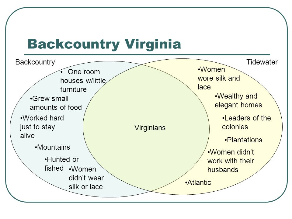 Backcountry Virginia Grew small amounts of food Worked hard just to stay alive Hunted or fished Women didnt wear silk or lace One room houses w/little