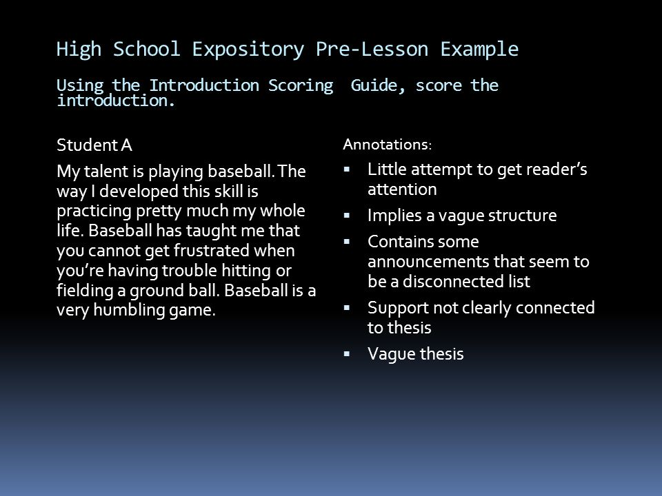 High School Expository Pre-Lesson Example Using the Introduction Scoring Guide, score the introduction.