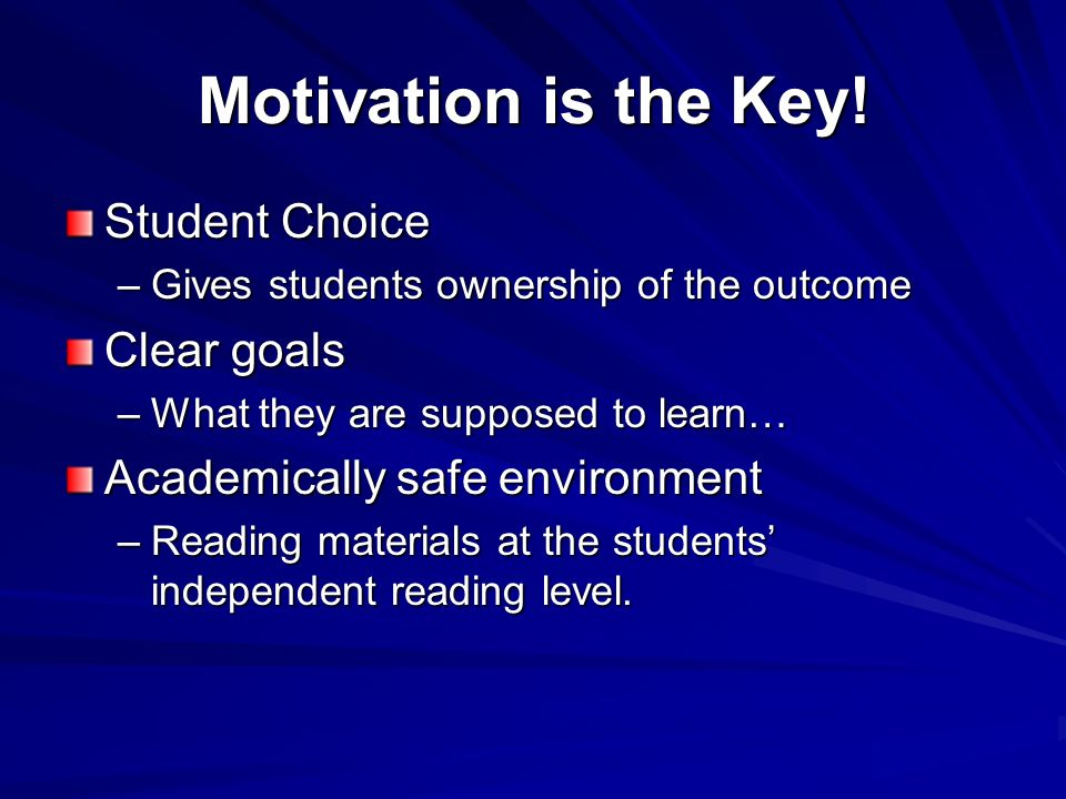 Why Independent Reading Improves Reading Achievement Improves Student Confidence (Successful practice) Improves Student Motivation to Read Content Texts