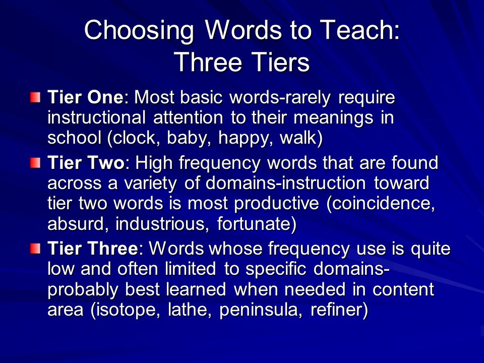 What Words Should I Teach Directly teach those words that are important for understanding a concept or the text Teach words that students are likely to see again and again Provide instruction for words that are particularly difficult for your students