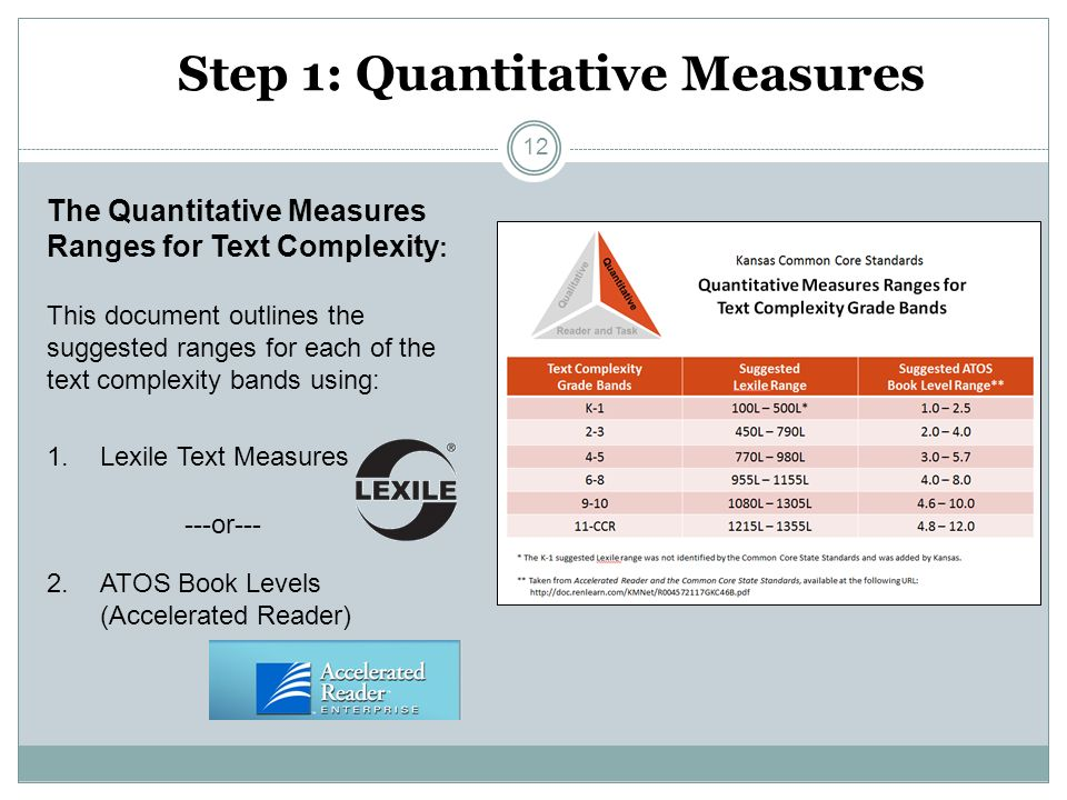 Step 1: Quantitative Measures The Quantitative Measures Ranges for Text Complexity : This document outlines the suggested ranges for each of the text