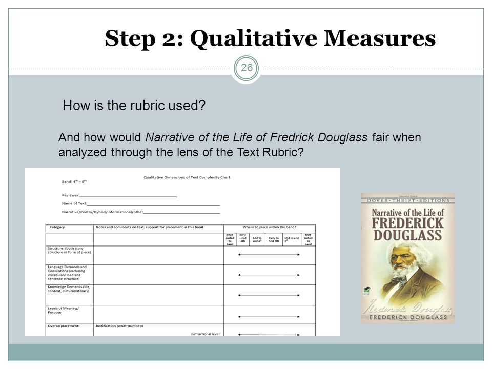 Step 2: Qualitative Measures How is the rubric used? And how would Narrative of the Life of Fredrick Douglass fair when analyzed through the lens of t