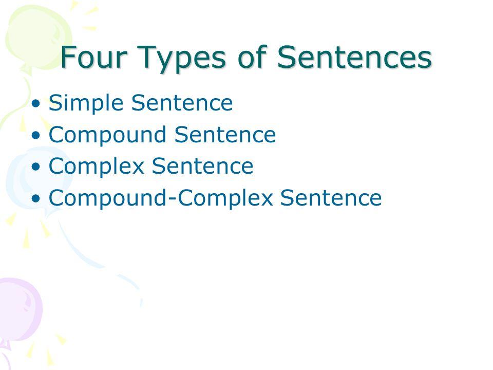 Four Types of Sentences Simple Sentence Compound Sentence Complex Sentence Compound-Complex Sentence