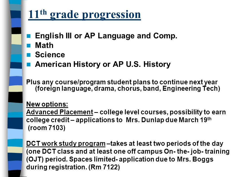 11 th grade progression English III or AP Language and Comp. Math Science American History or AP U.S. History Plus any course/program student plans to