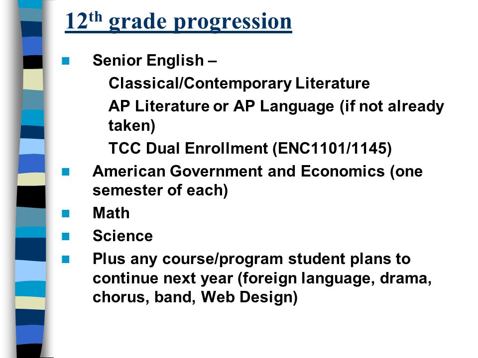 12 th grade progression Senior English – Classical/Contemporary Literature AP Literature or AP Language (if not already taken) TCC Dual Enrollment (ENC1101/1145) American Government and Economics (one semester of each) Math Science Plus any course/program student plans to continue next year (foreign language, drama, chorus, band, Web Design)