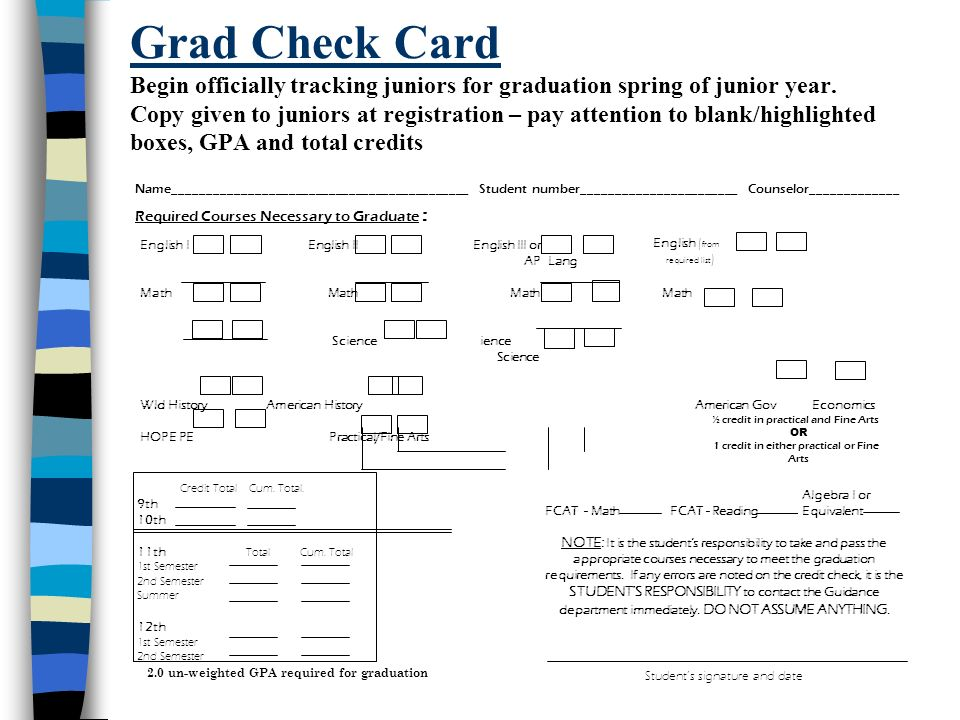 Grad Check Card Begin officially tracking juniors for graduation spring of junior year. Copy given to juniors at registration – pay attention to blank