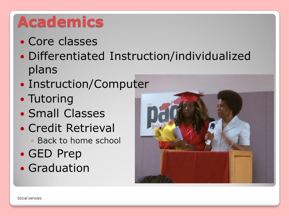 Academics Core classes Differentiated Instruction/individualized plans Instruction/Computer Tutoring Small Classes Credit Retrieval Back to home schoo