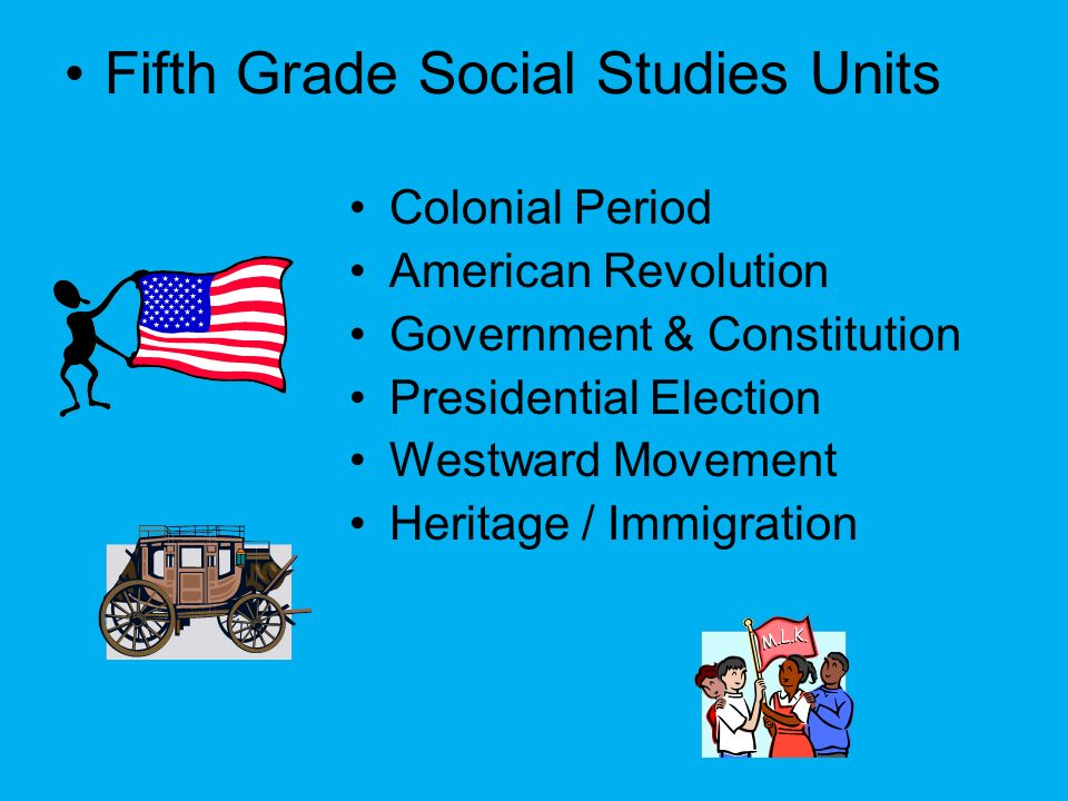 Fifth Grade Social Studies Units Colonial Period American Revolution Government & Constitution Presidential Election Westward Movement Heritage / Immi