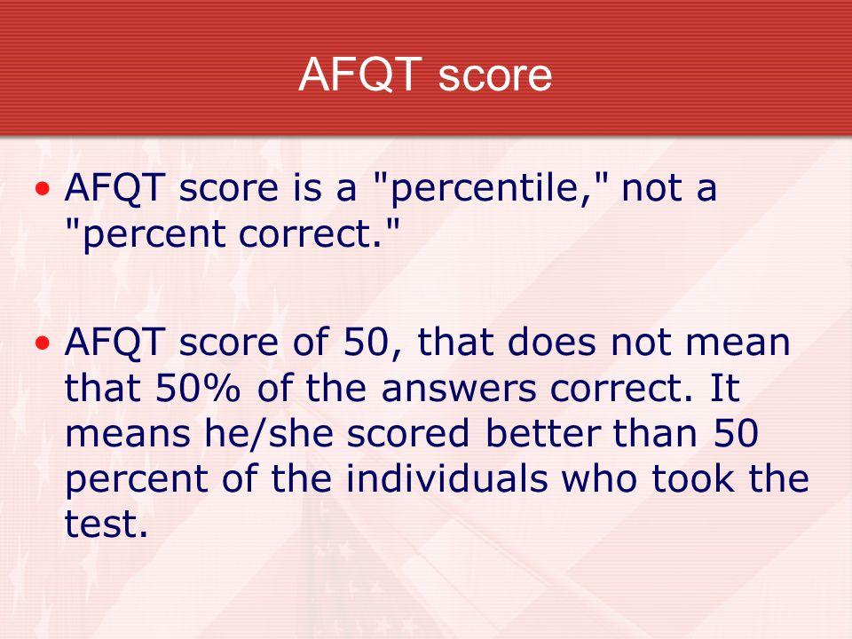 AFQT score AFQT score is a