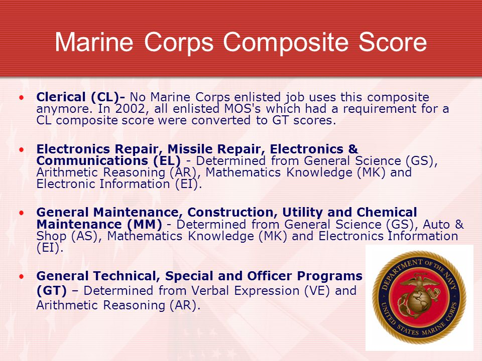Marine Corps Composite Score Clerical (CL)- No Marine Corps enlisted job uses this composite anymore. In 2002, all enlisted MOS's which had a requirem