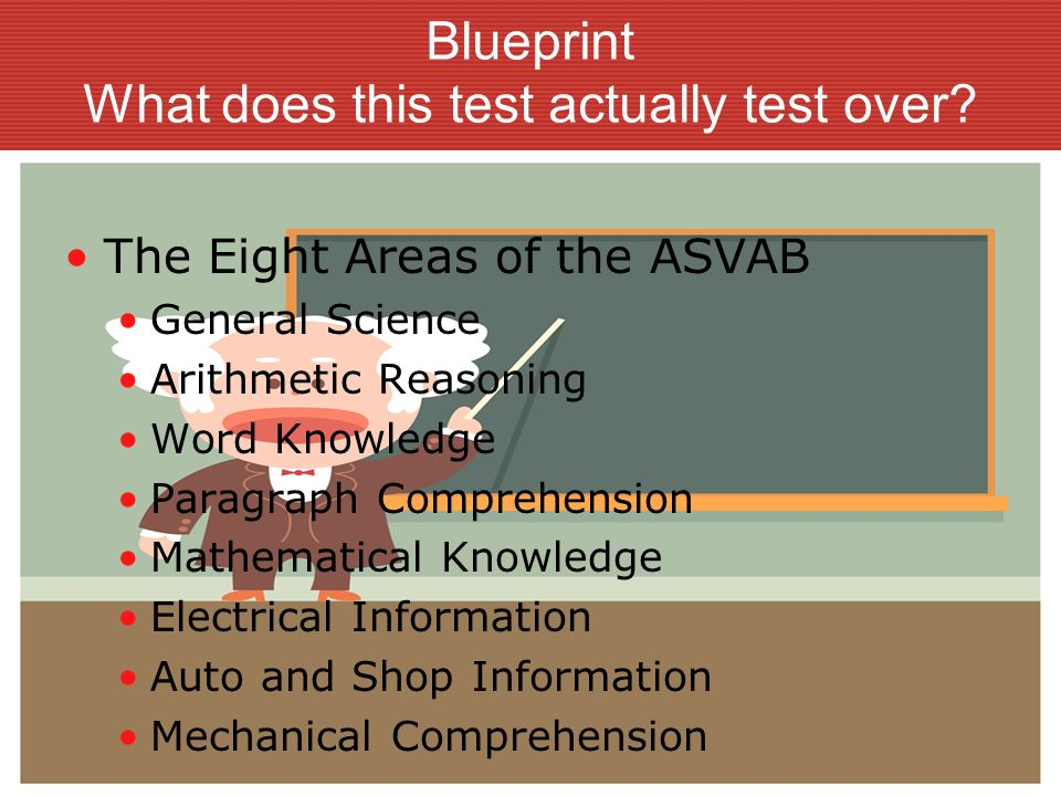 Blueprint Several composite scores are formed from different combinations of the ASVAB test scores.