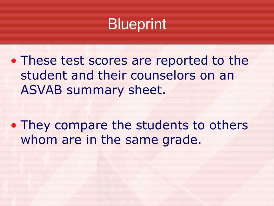 Composite or Line Scores Military job qualification is determined based on Composite Scores, which are made up of individual ASVAB sub- test scores.
