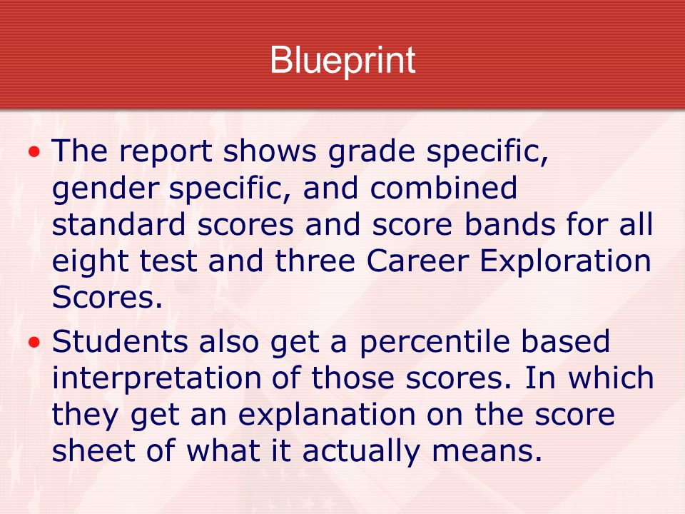 Blueprint The report shows grade specific, gender specific, and combined standard scores and score bands for all eight test and three Career Explorati