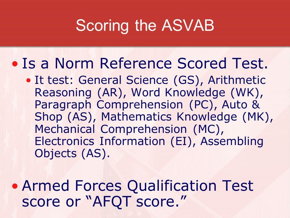 AFQT score AFQT score is a percentile, not a percent correct. AFQT score of 50, that does not mean that 50% of the answers correct.