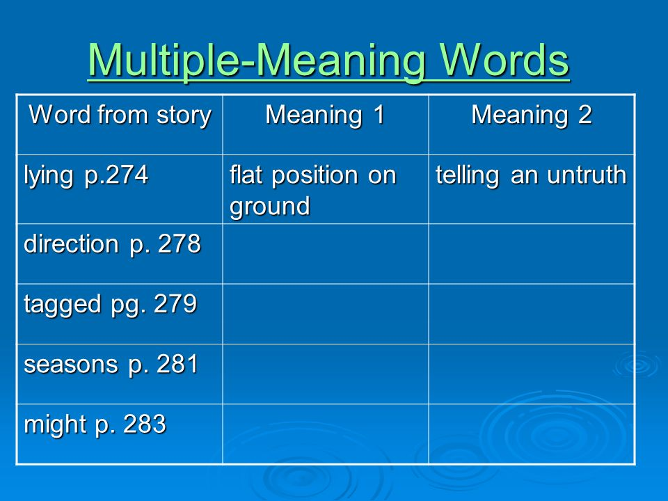 Multiple-Meaning Words Multiple-Meaning Words Word from story Meaning 1 Meaning 2 lying p.274 flat position on ground telling an untruth direction p.