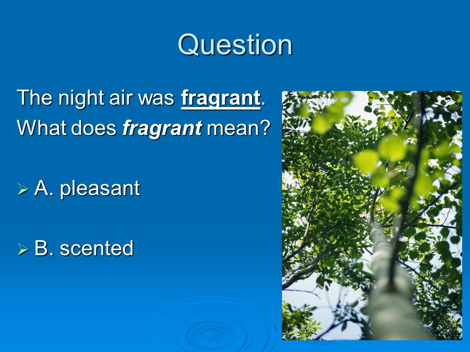 Question The night air was fragrant. What does fragrant mean? A. pleasant A. pleasant B. scented B. scented