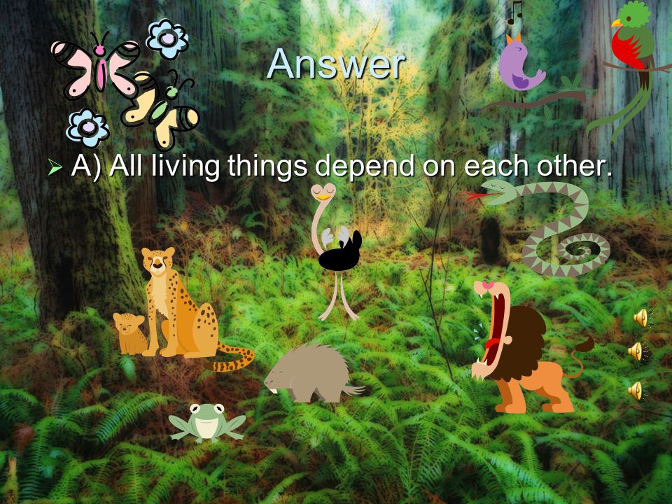 Answer A) All living things depend on each other. A) All living things depend on each other.