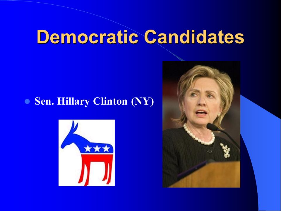 Democratic Candidates Sen. Hillary Clinton (NY)