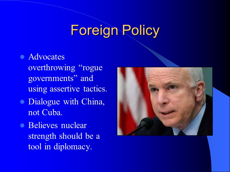 Foreign Policy Advocates overthrowing rogue governments and using assertive tactics.