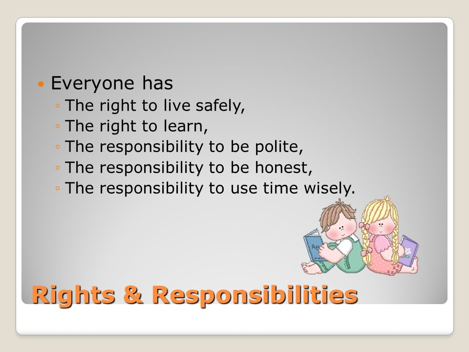 Rights & Responsibilities Everyone has The right to live safely, The right to learn, The responsibility to be polite, The responsibility to be honest,