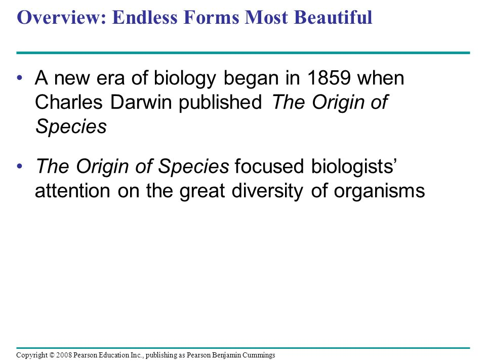 Copyright © 2008 Pearson Education Inc., publishing as Pearson Benjamin Cummings Darwin noted that current species are descendants of ancestral species Evolution can be defined by Darwins phrase descent with modification Evolution can be viewed as both a pattern and a process