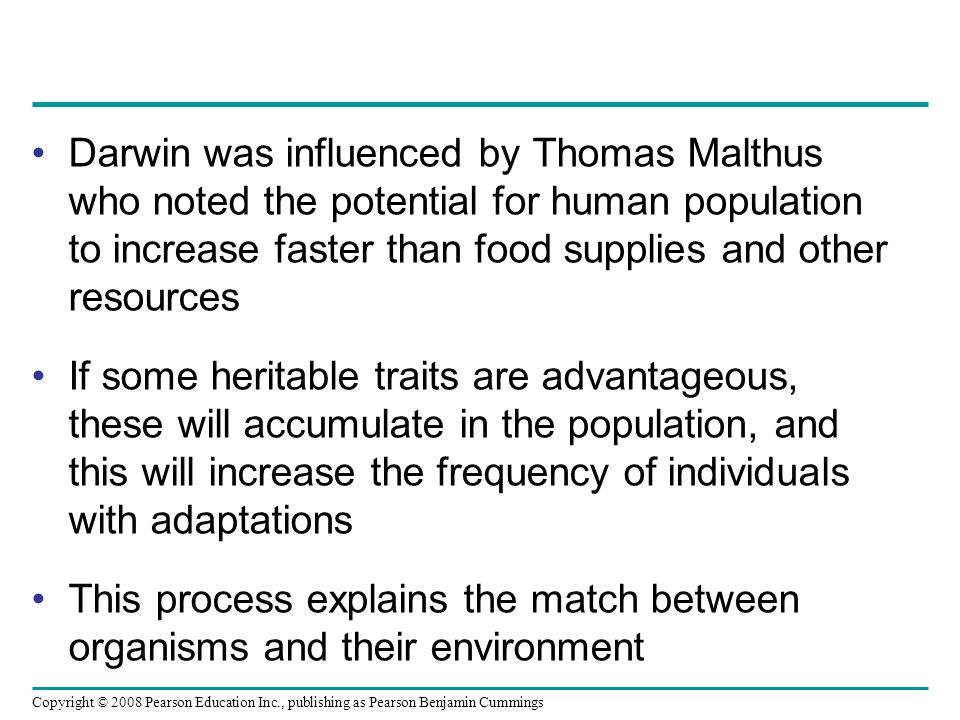 Copyright © 2008 Pearson Education Inc., publishing as Pearson Benjamin Cummings Darwin was influenced by Thomas Malthus who noted the potential for human population to increase faster than food supplies and other resources If some heritable traits are advantageous, these will accumulate in the population, and this will increase the frequency of individuals with adaptations This process explains the match between organisms and their environment