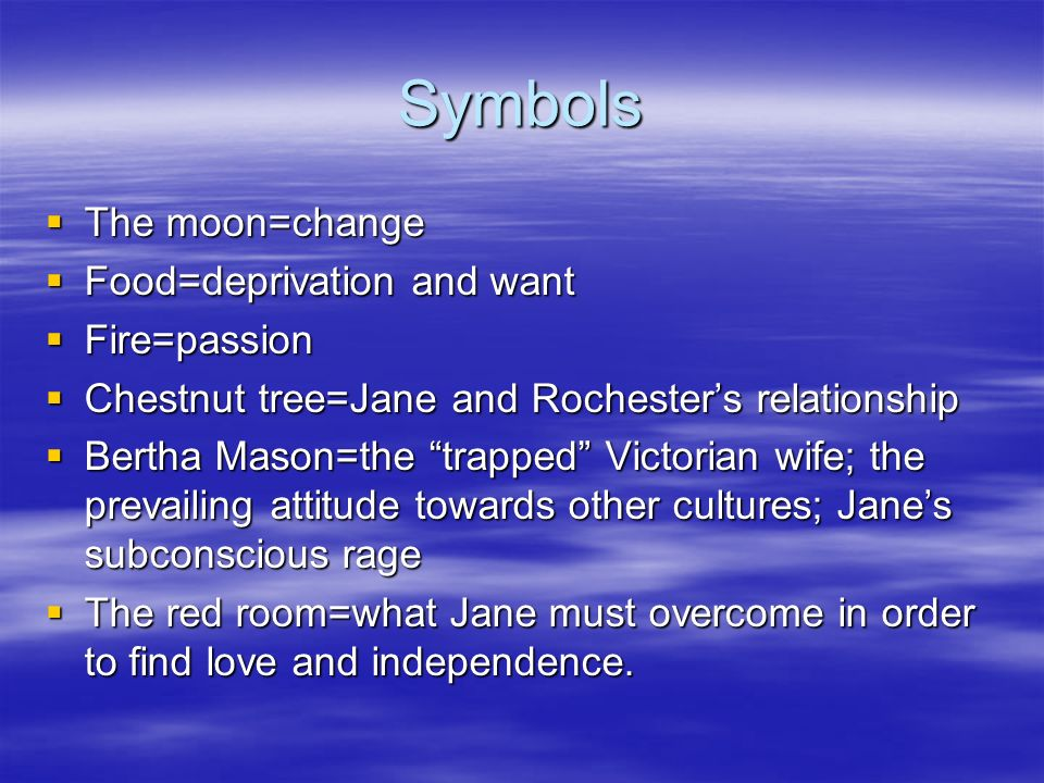 Symbols The moon=change The moon=change Food=deprivation and want Food=deprivation and want Fire=passion Fire=passion Chestnut tree=Jane and Rochester