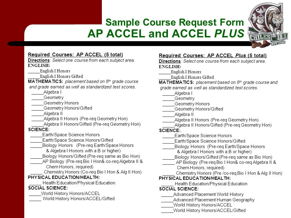 Sample Course Request Form AP ACCEL and ACCEL PLUS Required Courses: AP ACCEL (5 total) Directions: Select one course from each subject area.