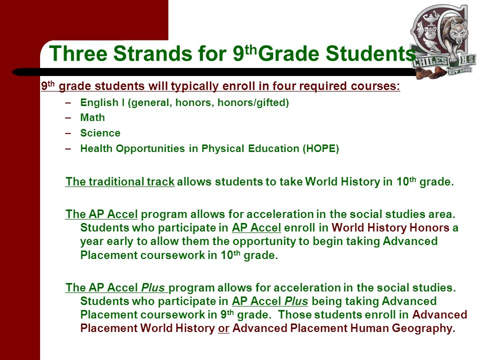 Three Strands for 9 th Grade Students 9 th grade students will typically enroll in four required courses: –English I (general, honors, honors/gifted) –Math –Science –Health Opportunities in Physical Education (HOPE) The traditional track allows students to take World History in 10 th grade.