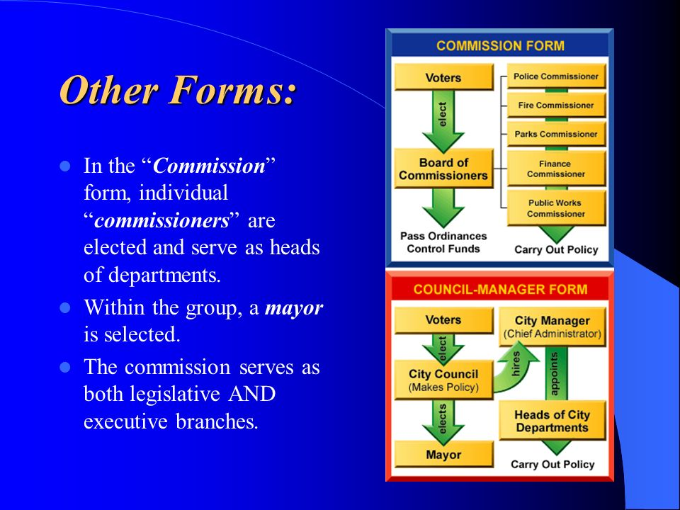 Other Forms: In the Commission form, individualcommissioners are elected and serve as heads of departments. Within the group, a mayor is selected. The