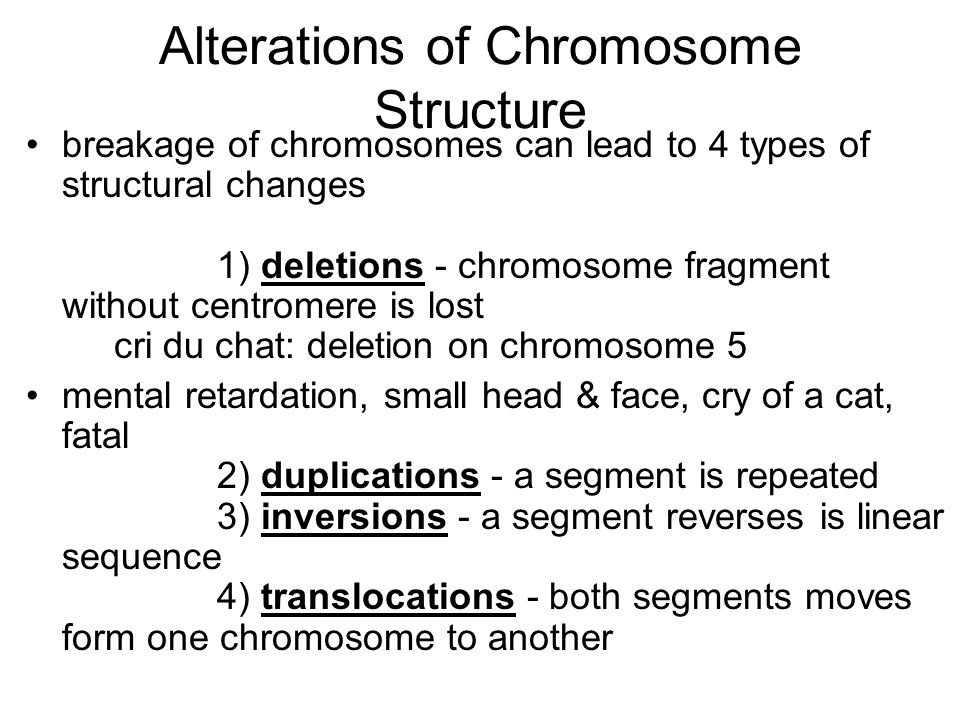 Alterations of Chromosome Structure breakage of chromosomes can lead to 4 types of structural changes 1) deletions - chromosome fragment without centr