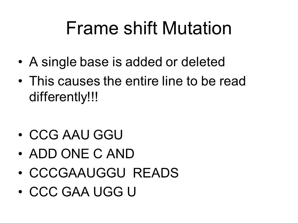 Frame shift Mutation A single base is added or deleted This causes the entire line to be read differently!!! CCG AAU GGU ADD ONE C AND CCCGAAUGGU READ