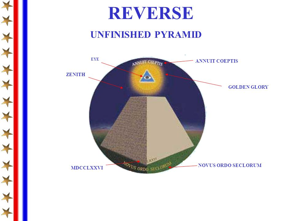 REVERSE ZENITH UNFINISHED PYRAMID EYE GOLDEN GLORY ANNUIT COEPTIS MDCCLXXVI NOVUS ORDO SECLORUM