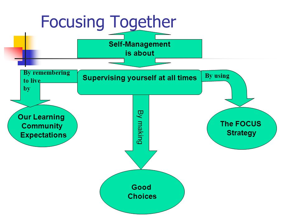 Focusing Together Self-Management is about Supervising yourself at all times The FOCUS Strategy Our Learning Community Expectations By using By rememb
