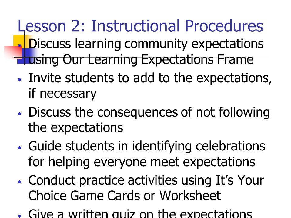 Lesson 2: Instructional Procedures Discuss learning community expectations using Our Learning Expectations Frame Invite students to add to the expecta