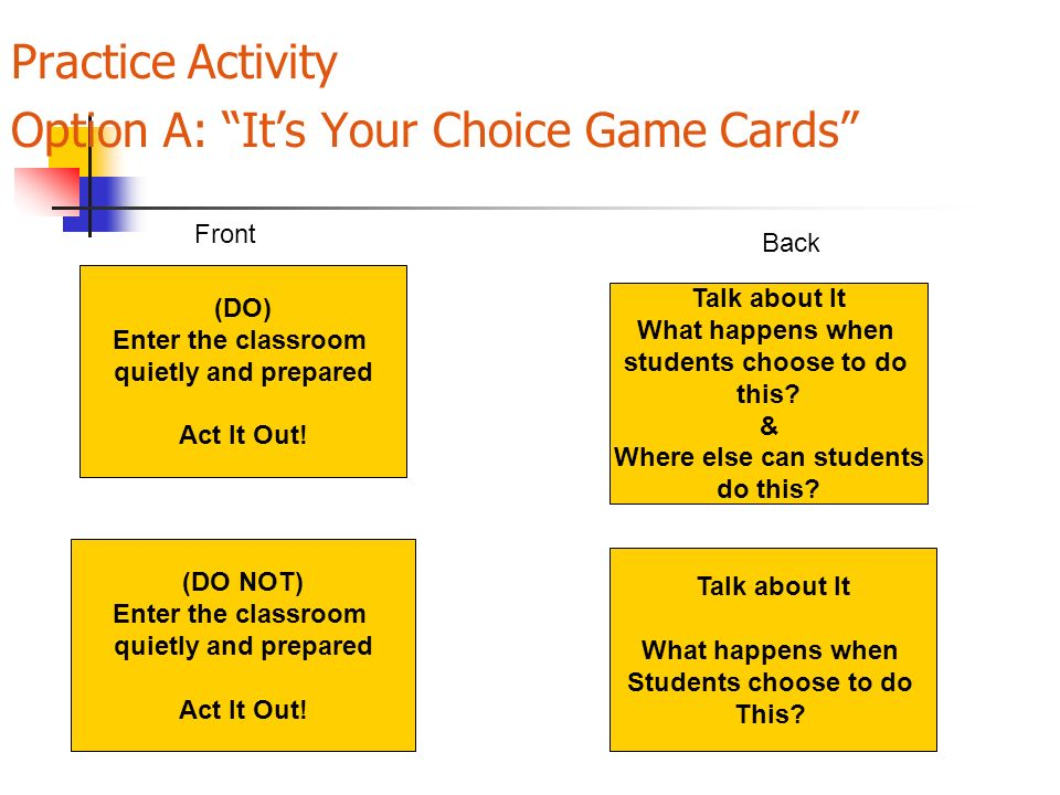 Practice Activity Option A: Its Your Choice Game Cards (DO) Enter the classroom quietly and prepared Act It Out! (DO NOT) Enter the classroom quietly