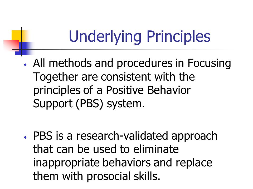 Underlying Principles All methods and procedures in Focusing Together are consistent with the principles of a Positive Behavior Support (PBS) system.