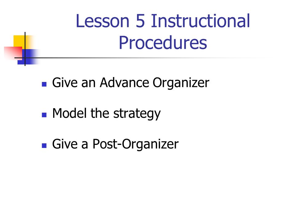 Lesson 5 Instructional Procedures Give an Advance Organizer Model the strategy Give a Post-Organizer