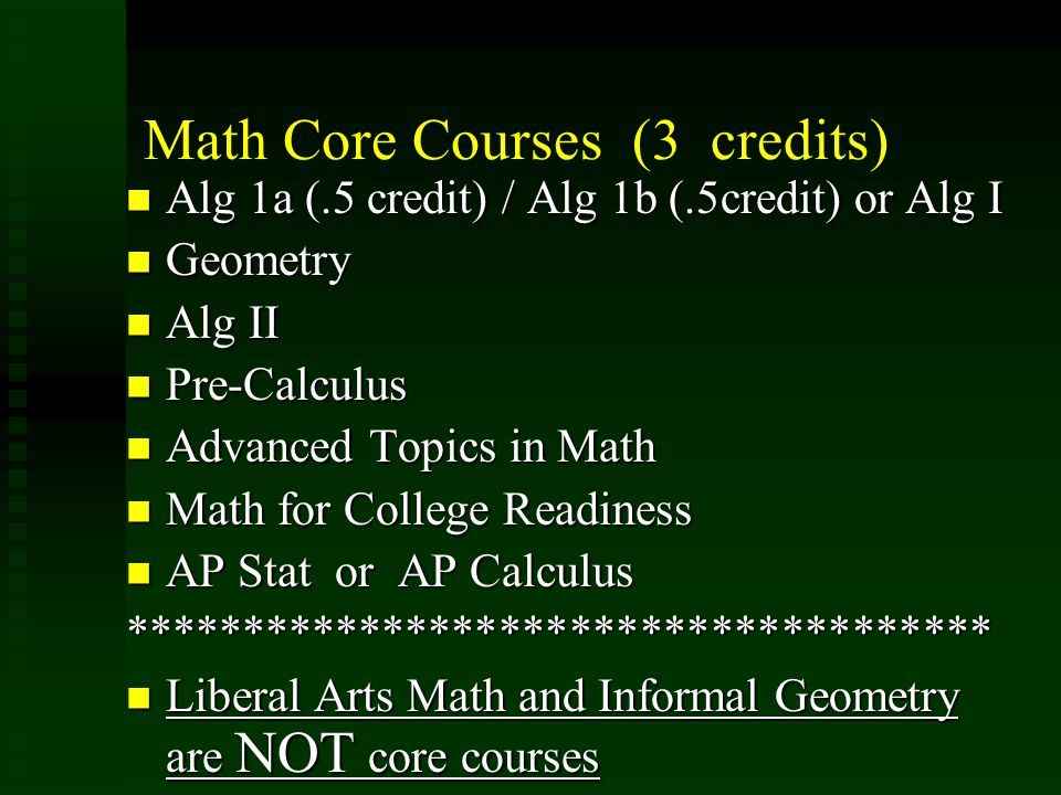 Math Core Courses (3 credits) Alg 1a (.5 credit) / Alg 1b (.5credit) or Alg I Alg 1a (.5 credit) / Alg 1b (.5credit) or Alg I Geometry Geometry Alg II Alg II Pre-Calculus Pre-Calculus Advanced Topics in Math Advanced Topics in Math Math for College Readiness Math for College Readiness AP Stat or AP Calculus AP Stat or AP Calculus************************************* Liberal Arts Math and Informal Geometry are NOT core courses Liberal Arts Math and Informal Geometry are NOT core courses