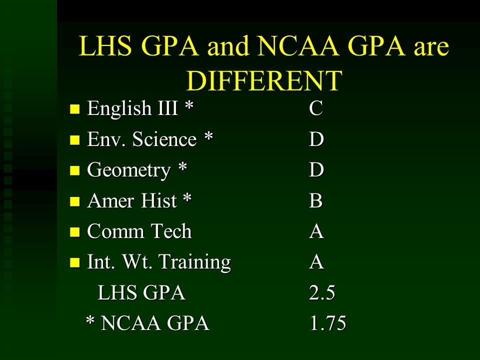 LHS GPA and NCAA GPA are DIFFERENT English III *C English III *C Env. Science *D Env. Science *D Geometry *D Geometry *D Amer Hist *B Amer Hist *B Com